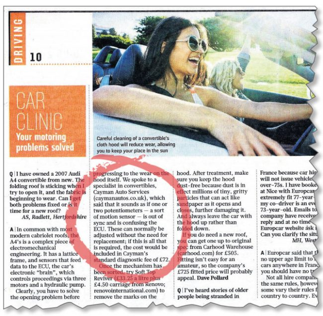 Caman Autos in the Sunday Times